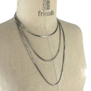 "1970's Crown Trifari Extra Long Box Chain 54"", Vintage Costume Jewelry, Versatile Long Layering Necklace, Silver Tone Polished Metal Chain"