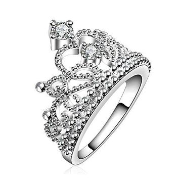 COMISAN Women 925 Sterling Silver Plated Princess Crown Ring with CZ Inlaid Engagement Wedding Ring