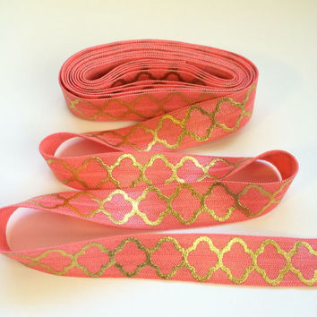 "5/8"" Watermelon Gold Quarterfoil Print Fold Over Elastic - Hair Accessory Supplies"