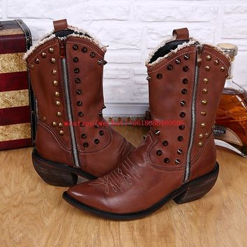 Mens Italian Leather Studded Pointed-Toe Cowboy Boots
