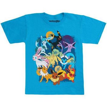 Pokemon Eevee Evolutions Licensed Kid's Youth T-Shirt - Turquoise Blue