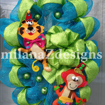 Baby Boy Wreath, Baby Shower Wreath, Monkey Wreath, Lion Wreath, Deco Mesh Wreath, Nursery Decoration, Lime Green Wreath, Jungle Animals