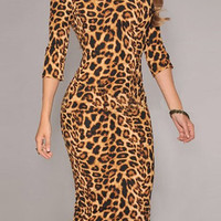 Leopard Pattern 3/4 Sleeve Midi Dress