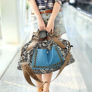 women canvas bag shoulder bag fashion bag (Color blue&gray) [8072734151]