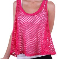 Casual Solid Scoop Neck Fishnet Mesh Sheer Cropped Tank Top