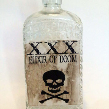 Elixir of Doom, Halloween Spell Bottle, Spell Ingredient Bottle, Halloween Decor, Halloween, Potion Ingredient, Aged and Distressed Bottle