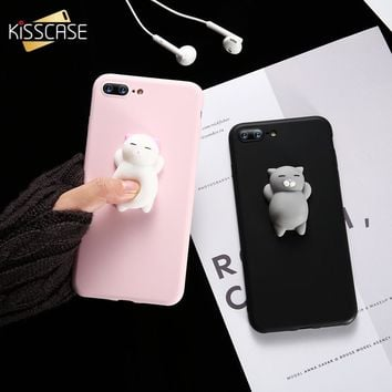 KISSCASE Cat Case For iPhone 5s 5 SE 7 7 Plus 6 6s Plus Case Cute Silicon Cartoon Cat Cases For iPhone 7 7 Plus 6 6s Cover Coque