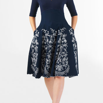 Floral paisley embellished empire mixed media dress