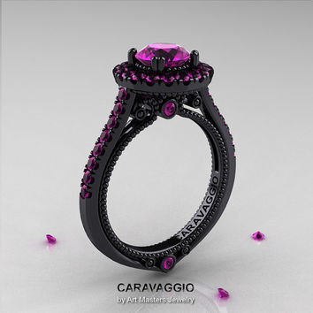 Caravaggio 14K Black Gold 1.0 Ct Amethyst Engagement Ring, Wedding Ring R621-14KBGBAM