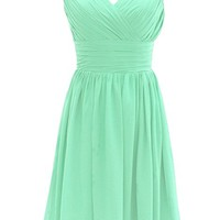 Women's V-Neck Short Bridesmaid Dress Simple Pleated Chiffon Dress