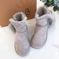 """UGG"" Womens Fashion Wool Pom Snow Boots"