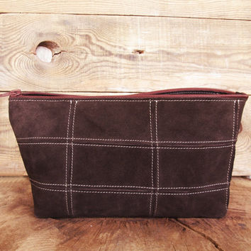 Cosmetic bag, Personalized toiletry bag, Dopp kit, Groomsmen gift, Shaving pouch, Leather case, Brown, Every day bag, Travel set, Father