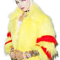 Isolated Heroes Faux Realz Fur Cropped Jacket Yellow
