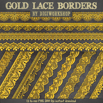 "Lace borders clip art: ""Gold Lace borders"" clipart set with digital golden lace border images for scrapbooking, card making, invites"