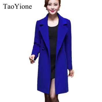 2017 New Fashion Women Woolen Coats High-end Elegant Long Slim Women Winter Jacket Royal Coats&Jackets Plus Size Femininos M-4XL