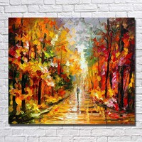 Art Oil Hand-painted picture 100% home-made Tree Street modern No