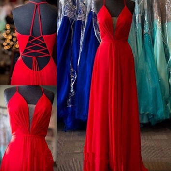 A-Line Red Spaghetti Straps Prom Dresses