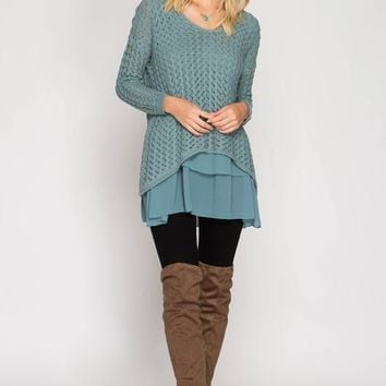 Layered Sweater Tunic - Blue