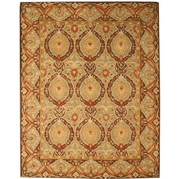 EORC Hand-tufted Wool Green Traditional Oriental Kabul Rug