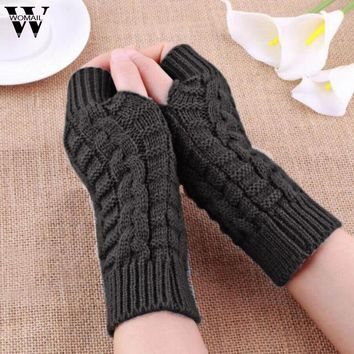 Winter Knitted Fingerless Gloves Mittens for Women Solid Color luvas feminina Amazing New Arrival