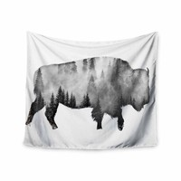 Bison - Black White Nature Digital Wall Tapestry