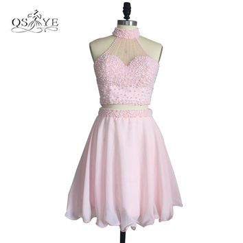 New Pink Short Homecoming Dresses 2017 High Neck Full Pearls Top Mini Chiffon Girls Prom Party Gown Real Photo