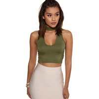 Olive Choker Crop Top