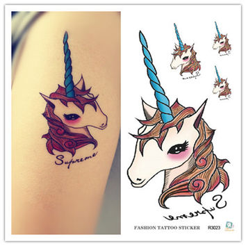 10cm Waterproof tattoos Personality unicorn tattoo stickers One-time tattoo stickers toys
