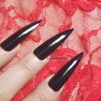 long black stiletto nails costume vampire wag rock drag queen false nail gothic uñas quirky cosplay sexy men pointy horror lasoffittadiste