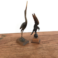 Hand Carved Horn Or Bone Birds Crane And Falcon On Wood Base