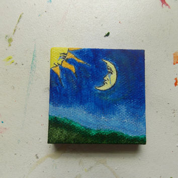 "Handmade acrylic painting on mini canvas ""Distant Love"" moon and sun"