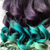 "18"", Ombre Hair, Dip Dye, Remy human hair, extensions, Black Hair with fade levels of green, (7) Pieces, 110 Grams"