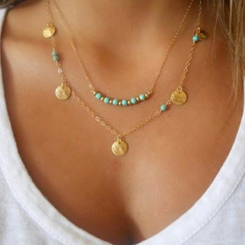Boho Simple Chain Bohemia Neckalce Women Gold Color Tassels Pendant Multi Layer Necklace Fashion Jewelry