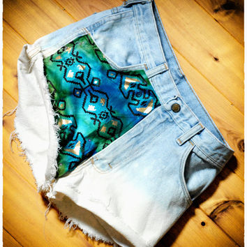Gold Studded Aztec Ombre High waisted denim shorts
