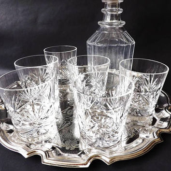 6 Cut Crystal Whiskey Tumblers Edinburgh Whisky Glasses, Scotch Glass, Low Ball Old Fashioned, Glassware Vintage Barware, Man Cave Home Bar