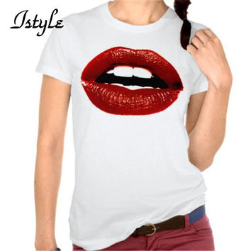 Casual Women's Red Lips T-Shirt