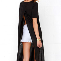 Black Knitted Midi Dress with Slits Detail