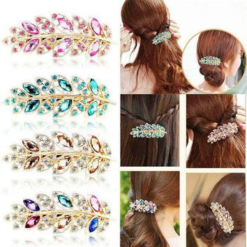 1 X Crystal Leaf Pearl Hair Clip For Women Headwear Headdress Hairpins Cutting Hair Pins Metal Barrette Girl Hair Accessories