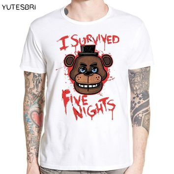 Freddy Bear Male Painted Tee Shirts for Man  2017 New Arrival Five Nights At Freddy's Funny Hip Hop T Shirt Hipster Tees