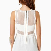 Mesh Peplum Top - White