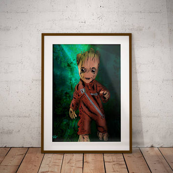 Baby Groot In Battle suit Guardians of the Galaxy Marvel Comics Graphic Novel Wall Art Print