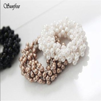 Sunfree 2016 1PC Fashion Korean Women Pearls Beads Hair Band Rope Scrunchie Ponytail Holder  Brand New and High Quality Nov 11