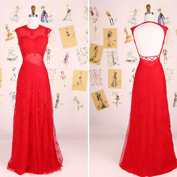 Red Round Neck Sleeveless Lace See Through Long Prom Dress/Sexy Red Evening Gown/Red Lace Party Dress/Open Back Wedding Dress