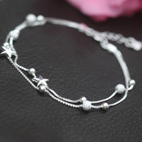 Sweet small stars 925 sterling silver bracelet,a perfect gift