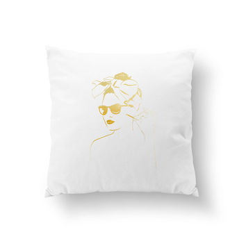 Pin Up Girl Pillow,  Stylish Woman Pillow, Fashion Chic, Cushion Cover, Fashion Illustration, Throw Pillow, Fashion Pillow,Decorative Pillow