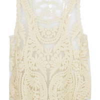 White Crochet Lace Mesh Vest Top