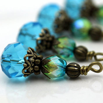 Vintge Style Aqua Blue Crystal with Ornate Brass Bead Dangle Charm Drop Set - Earring Dangle, Charm, Drop, Pendant