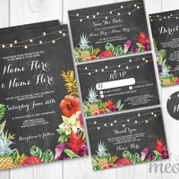 Wedding Invitations Chalk Aloha Floral Set Template INSTANT DOWNLOAD Package Printable Invites Save The Date Rsvp Lights Rustic Editable