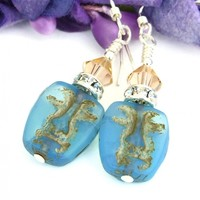Easter Island Face Earrings, Aqua Blue Opal Czech Glass Swarovski Crystals Handmade Jewelry