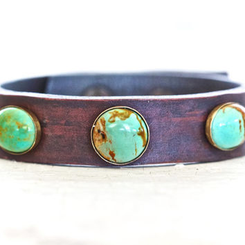 Turquoise Leather Rustic Cuff - Hand-stained Turquoise and Leather Bracelet - Gift for Her - Hip - Unique Gift - Boho Chic - Bohemian